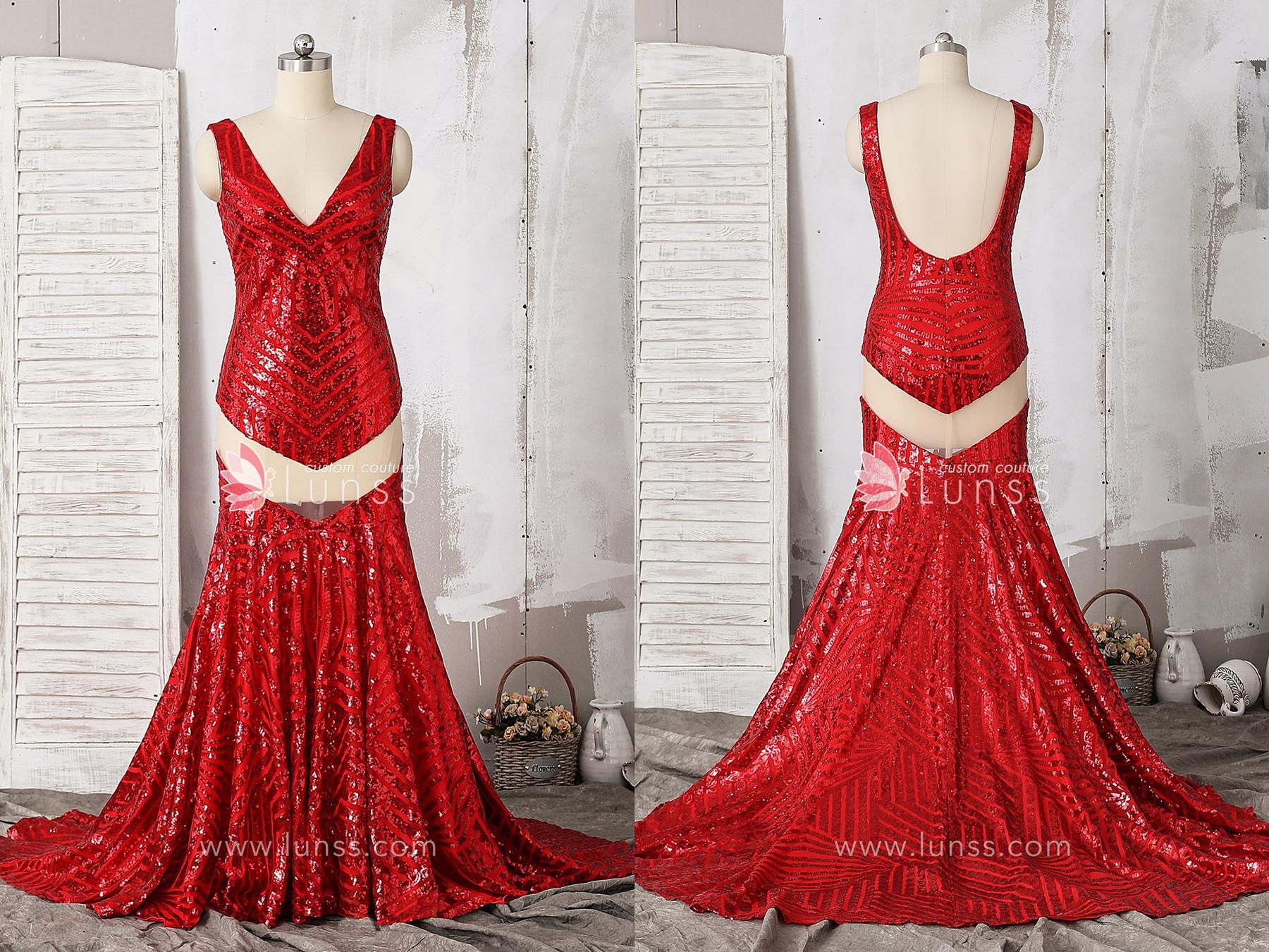 4eea277f78d3 Red-Joint-Mesh-Bombshell-Pattern-Sequin-Mermaid-Prom-. 2. Rose Gold Halter  Neckline Mermaid Prom Dress
